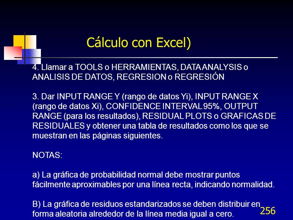 256 Cálculo con Excel) 4. Llamar a TOOLS o HERRAMIENTAS, DATA ANALYSIS o ANALISIS DE DATOS, REGRESION o REGRESIÓN 3. Dar INPUT RANGE Y (rango de datos