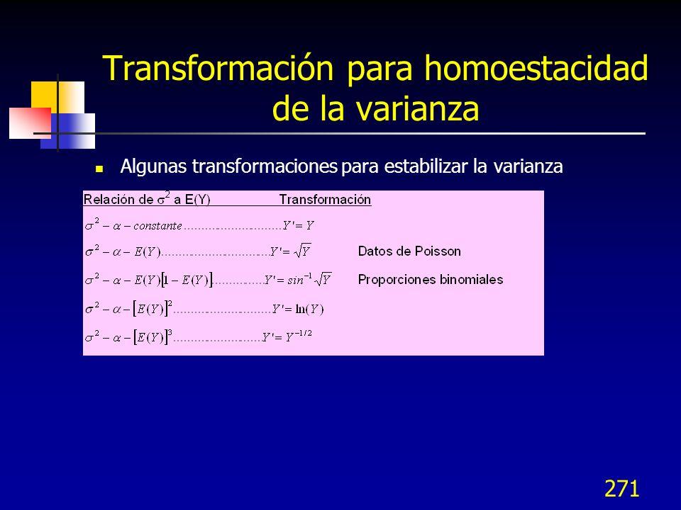 271 Transformación para homoestacidad de la varianza Algunas transformaciones para estabilizar la varianza