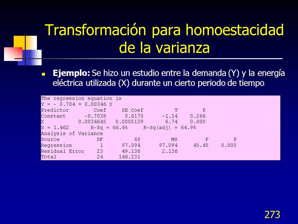 273 Transformación para homoestacidad de la varianza Ejemplo: Se hizo un estudio entre la demanda (Y) y la energía eléctrica utilizada (X) durante un