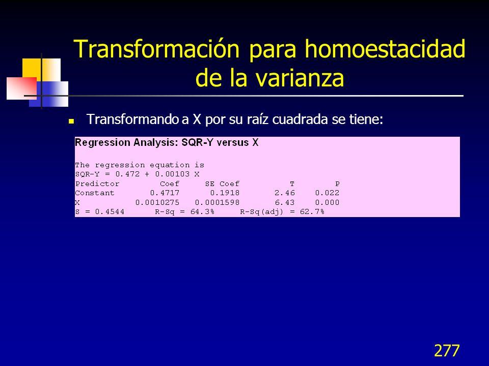 277 Transformación para homoestacidad de la varianza Transformando a X por su raíz cuadrada se tiene: