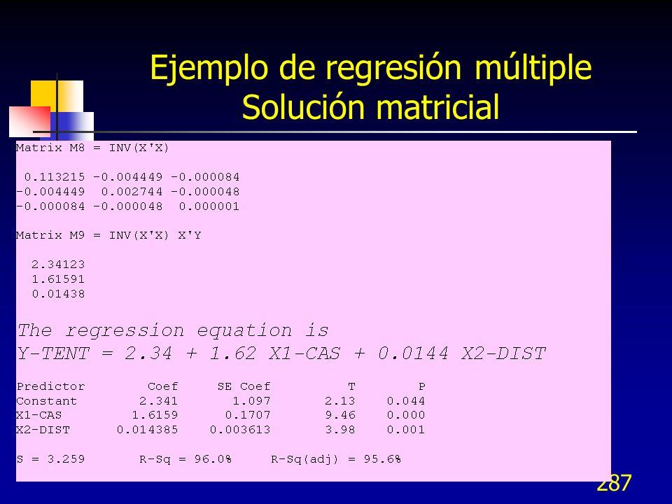287 Ejemplo de regresión múltiple Solución matricial