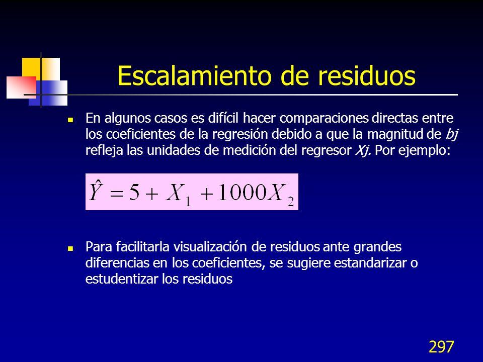 297 Escalamiento de residuos En algunos casos es difícil hacer comparaciones directas entre los coeficientes de la regresión debido a que la magnitud