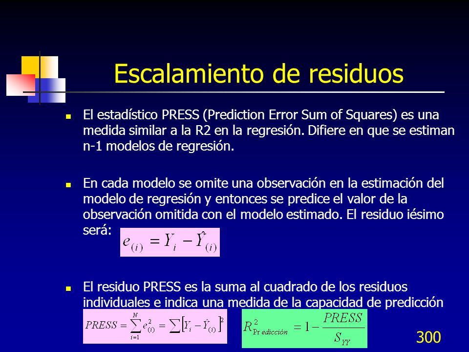 300 Escalamiento de residuos El estadístico PRESS (Prediction Error Sum of Squares) es una medida similar a la R2 en la regresión. Difiere en que se e