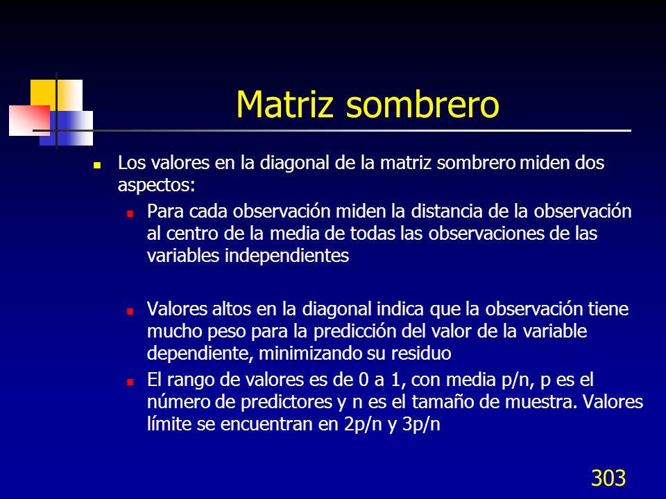 303 Matriz sombrero Los valores en la diagonal de la matriz sombrero miden dos aspectos: Para cada observación miden la distancia de la observación al