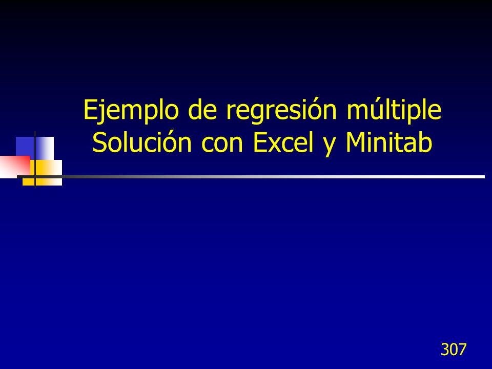 307 Ejemplo de regresión múltiple Solución con Excel y Minitab