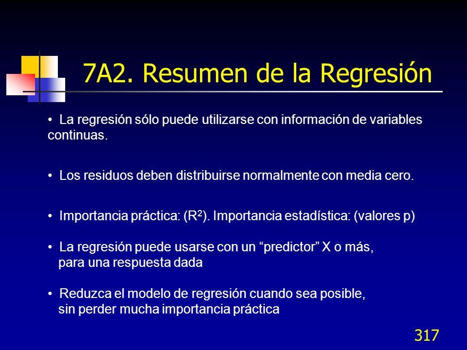 317 La regresión sólo puede utilizarse con información de variables continuas. Los residuos deben distribuirse normalmente con media cero. Importancia