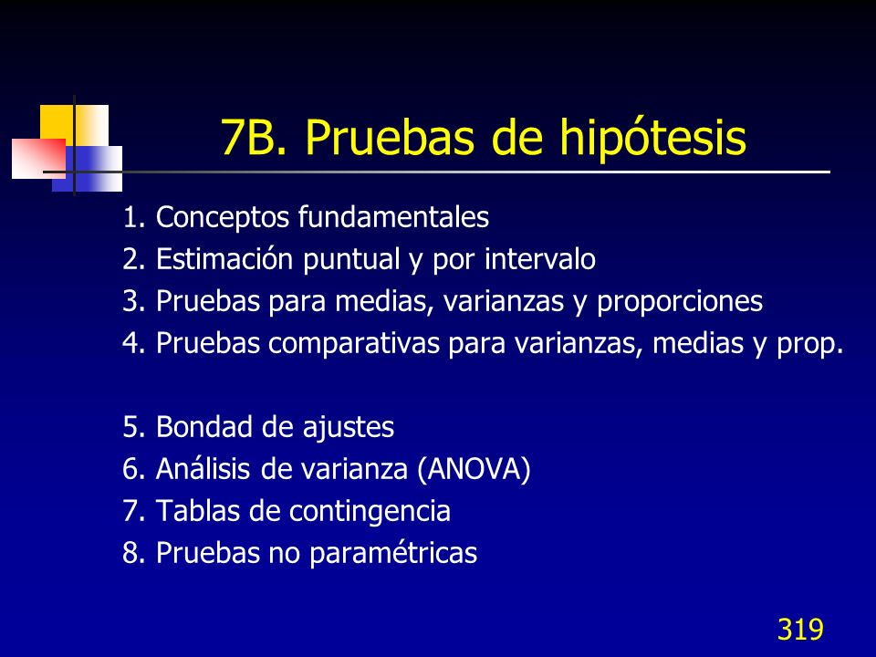 319 7B. Pruebas de hipótesis 1. Conceptos fundamentales 2. Estimación puntual y por intervalo 3. Pruebas para medias, varianzas y proporciones 4. Prue