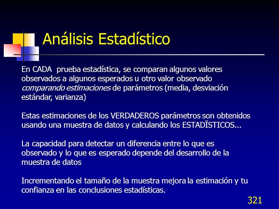 321 Análisis Estadístico En CADA prueba estadística, se comparan algunos valores observados a algunos esperados u otro valor observado comparando esti