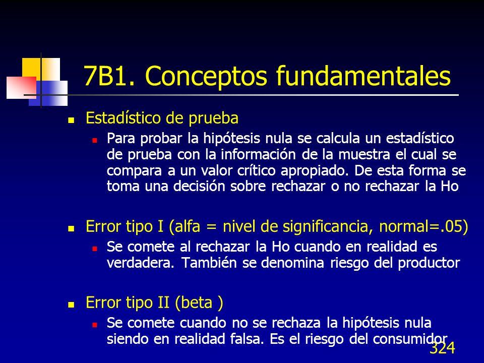 324 7B1. Conceptos fundamentales Estadístico de prueba Para probar la hipótesis nula se calcula un estadístico de prueba con la información de la mues