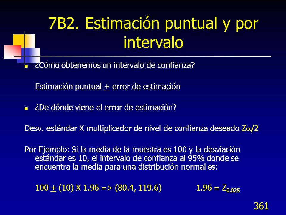 361 7B2. Estimación puntual y por intervalo ¿Cómo obtenemos un intervalo de confianza? Estimación puntual + error de estimación ¿De dónde viene el err