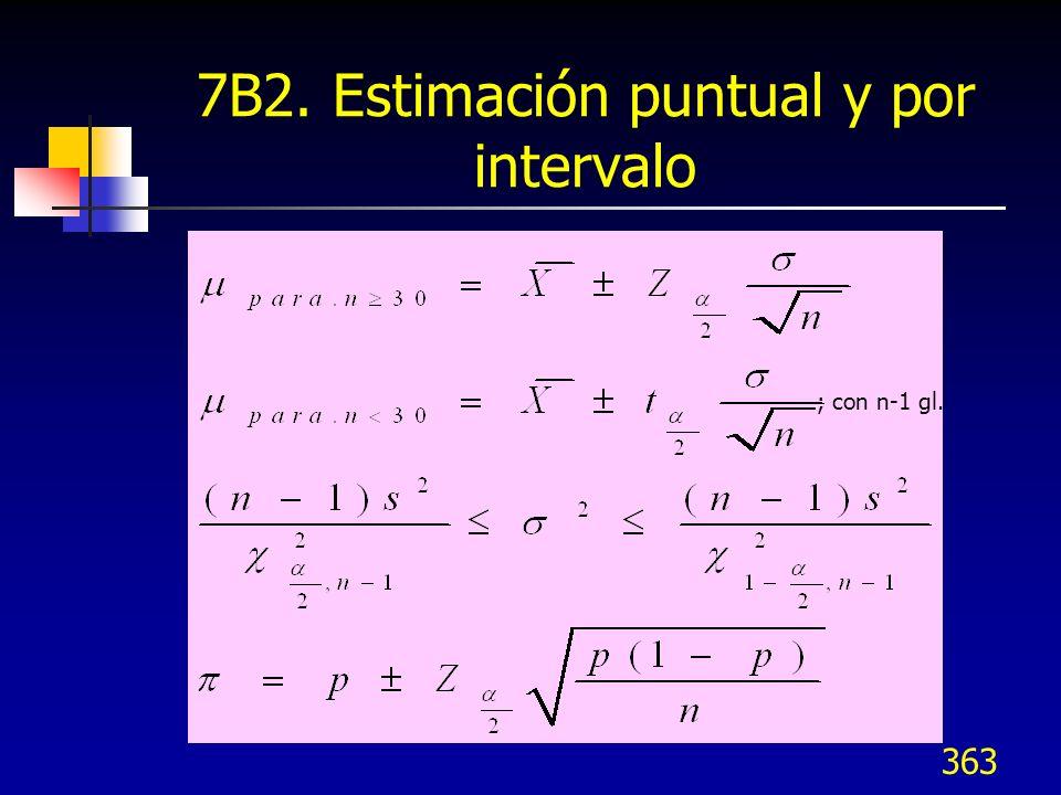 363 7B2. Estimación puntual y por intervalo ; con n-1 gl.