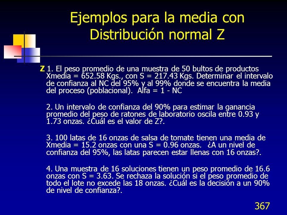 367 Ejemplos para la media con Distribución normal Z Z 1. El peso promedio de una muestra de 50 bultos de productos Xmedia = 652.58 Kgs., con S = 217.