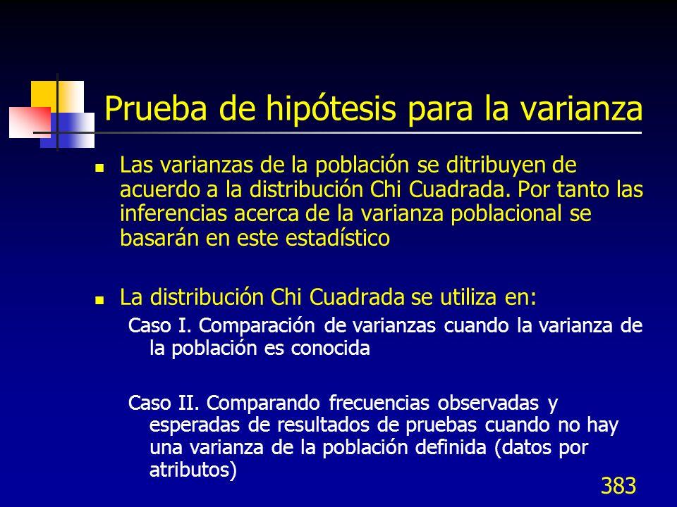 383 Prueba de hipótesis para la varianza Las varianzas de la población se ditribuyen de acuerdo a la distribución Chi Cuadrada. Por tanto las inferenc