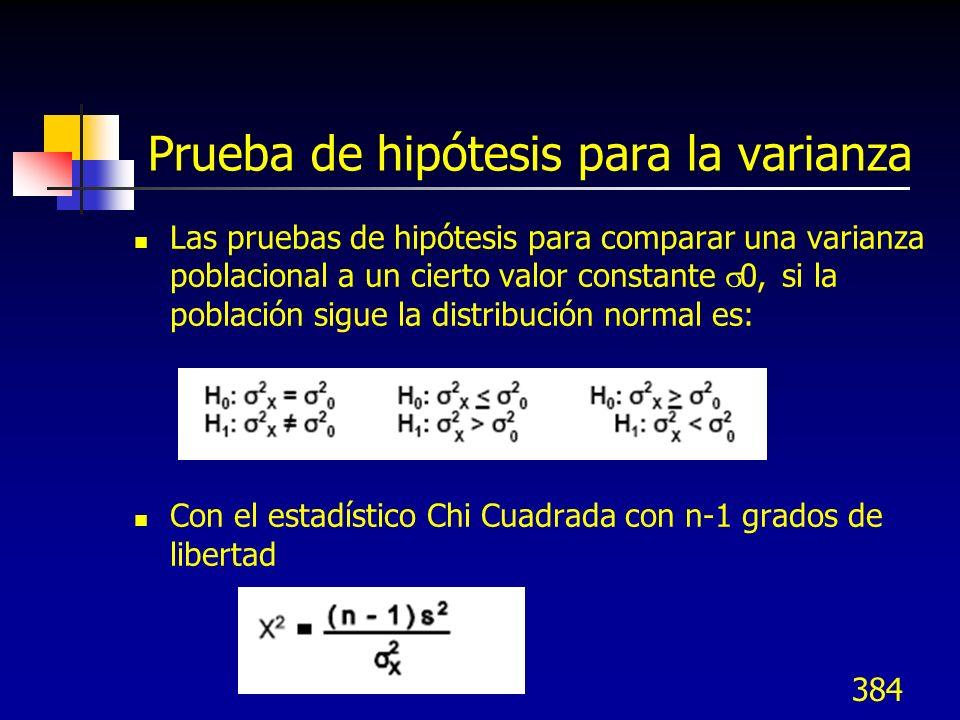 384 Prueba de hipótesis para la varianza Las pruebas de hipótesis para comparar una varianza poblacional a un cierto valor constante 0, si la població