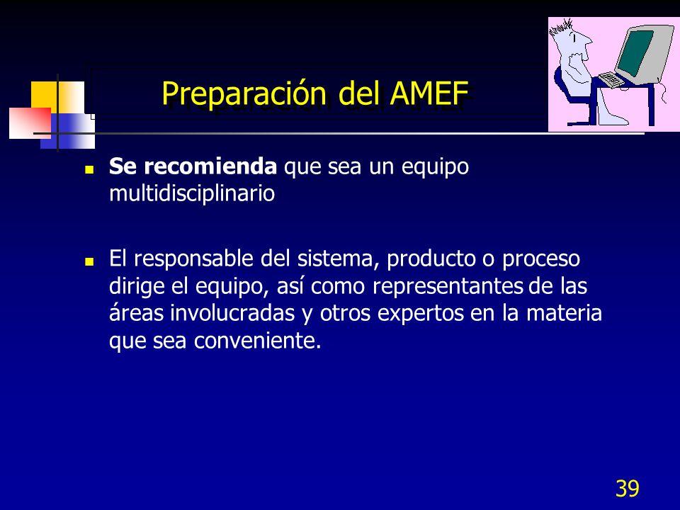 39 Preparación del AMEF Se recomienda que sea un equipo multidisciplinario El responsable del sistema, producto o proceso dirige el equipo, así como r