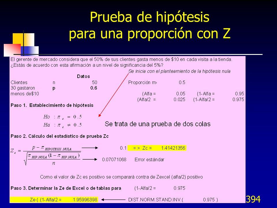 394 Prueba de hipótesis para una proporción con Z