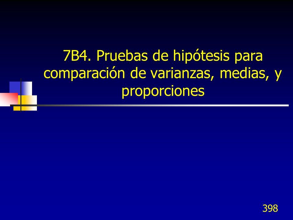 398 7B4. Pruebas de hipótesis para comparación de varianzas, medias, y proporciones
