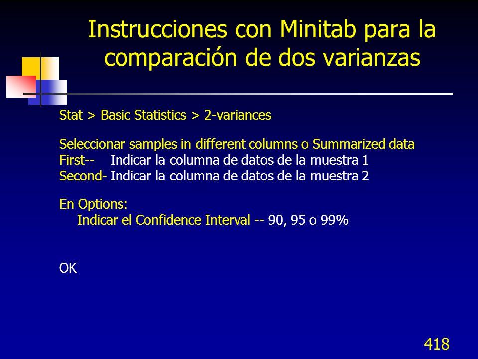 418 Instrucciones con Minitab para la comparación de dos varianzas Stat > Basic Statistics > 2-variances Seleccionar samples in different columns o Su