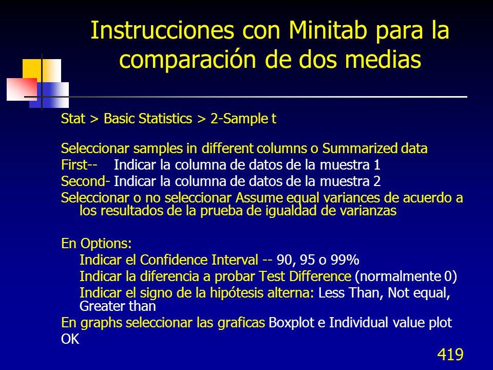 419 Instrucciones con Minitab para la comparación de dos medias Stat > Basic Statistics > 2-Sample t Seleccionar samples in different columns o Summar