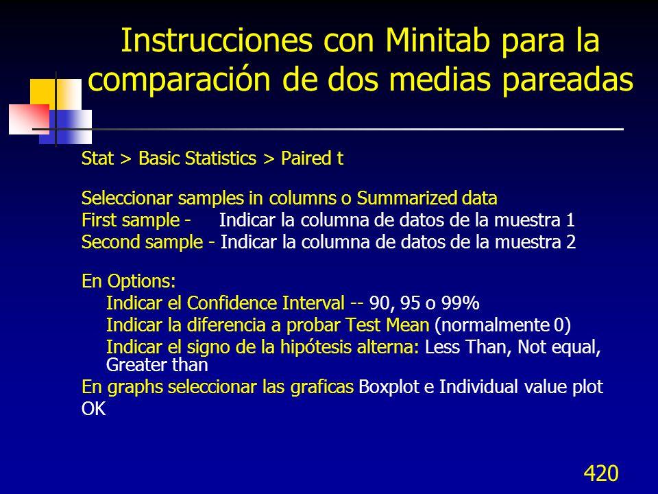 420 Instrucciones con Minitab para la comparación de dos medias pareadas Stat > Basic Statistics > Paired t Seleccionar samples in columns o Summarize