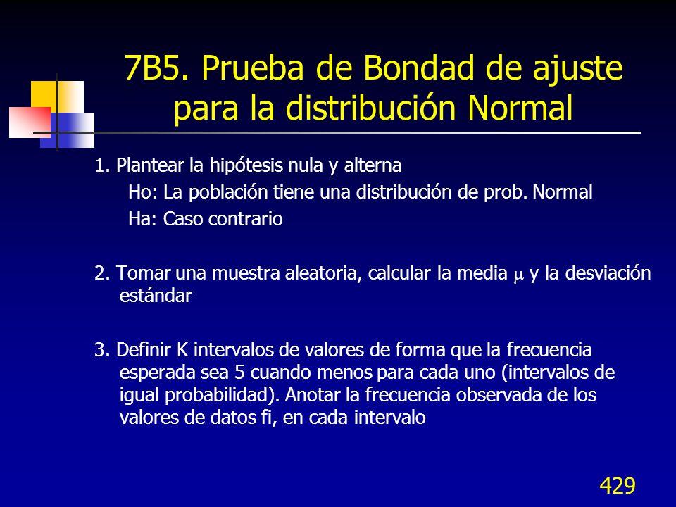 429 7B5. Prueba de Bondad de ajuste para la distribución Normal 1. Plantear la hipótesis nula y alterna Ho: La población tiene una distribución de pro