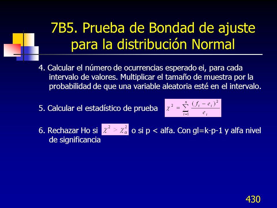 430 7B5. Prueba de Bondad de ajuste para la distribución Normal 4. Calcular el número de ocurrencias esperado ei, para cada intervalo de valores. Mult