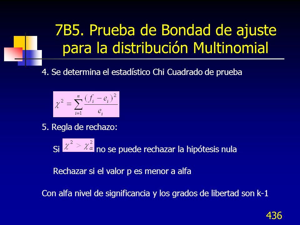 436 7B5. Prueba de Bondad de ajuste para la distribución Multinomial 4. Se determina el estadístico Chi Cuadrado de prueba 5. Regla de rechazo: Si no