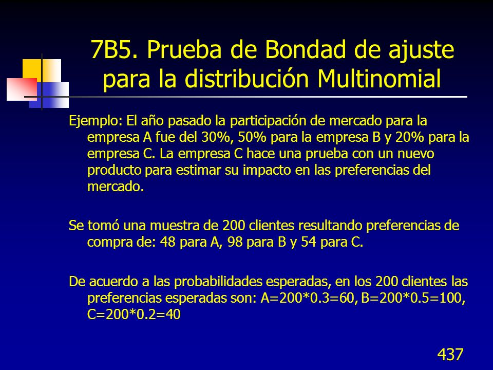 437 7B5. Prueba de Bondad de ajuste para la distribución Multinomial Ejemplo: El año pasado la participación de mercado para la empresa A fue del 30%,