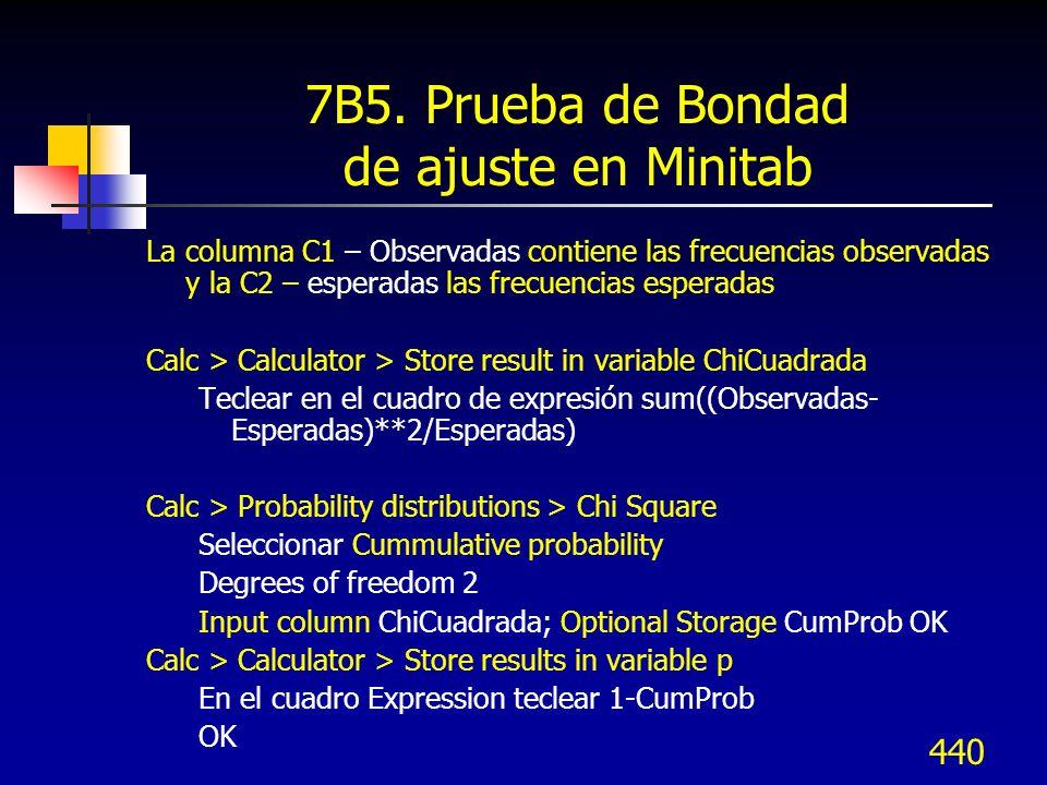 440 7B5. Prueba de Bondad de ajuste en Minitab La columna C1 – Observadas contiene las frecuencias observadas y la C2 – esperadas las frecuencias espe