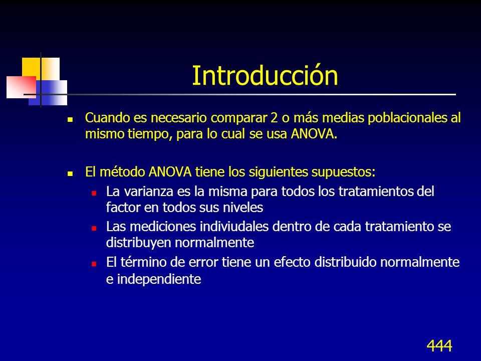 444 Introducción Cuando es necesario comparar 2 o más medias poblacionales al mismo tiempo, para lo cual se usa ANOVA. El método ANOVA tiene los sigui