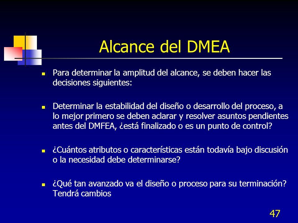47 Alcance del DMEA Para determinar la amplitud del alcance, se deben hacer las decisiones siguientes: Determinar la estabilidad del diseño o desarrol
