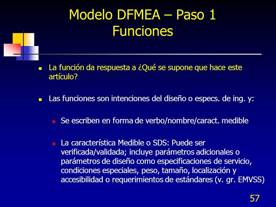 57 Modelo DFMEA – Paso 1 Funciones La función da respuesta a ¿Qué se supone que hace este artículo? Las funciones son intenciones del diseño o especs.