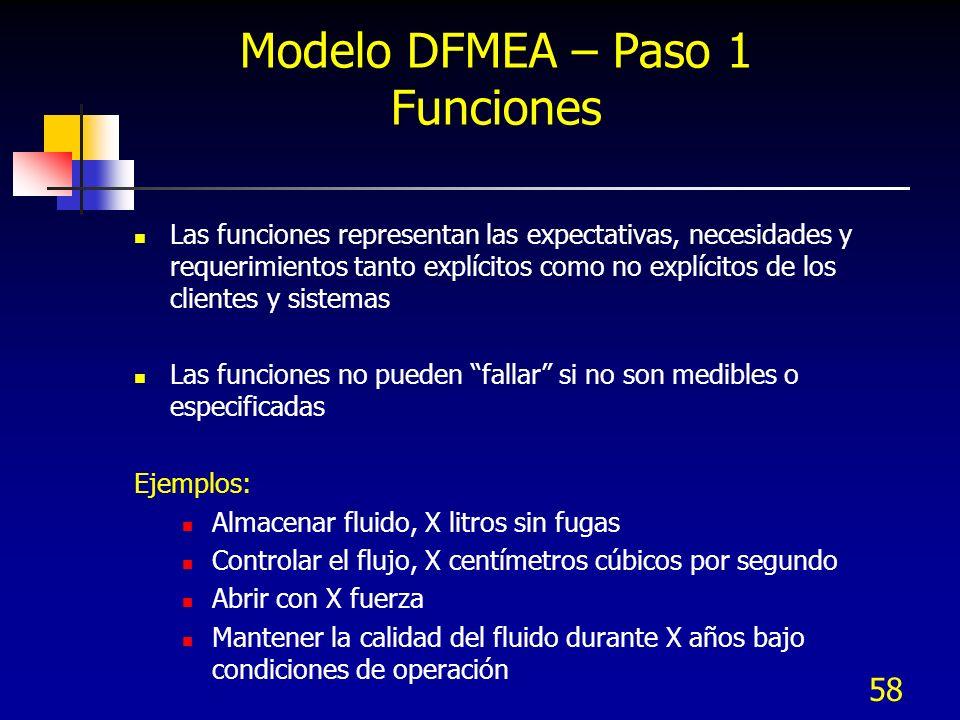 58 Modelo DFMEA – Paso 1 Funciones Las funciones representan las expectativas, necesidades y requerimientos tanto explícitos como no explícitos de los