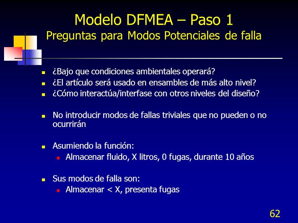 62 Modelo DFMEA – Paso 1 Preguntas para Modos Potenciales de falla ¿Bajo que condiciones ambientales operará? ¿El artículo será usado en ensambles de