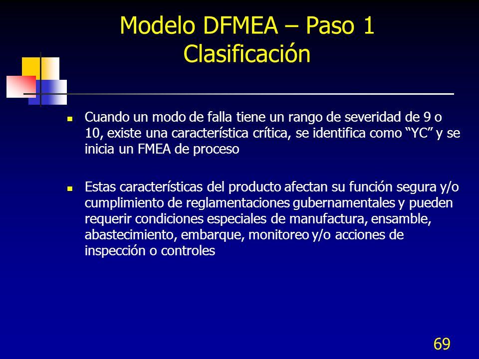 69 Modelo DFMEA – Paso 1 Clasificación Cuando un modo de falla tiene un rango de severidad de 9 o 10, existe una característica crítica, se identifica