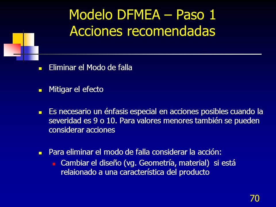 70 Modelo DFMEA – Paso 1 Acciones recomendadas Eliminar el Modo de falla Mitigar el efecto Es necesario un énfasis especial en acciones posibles cuand