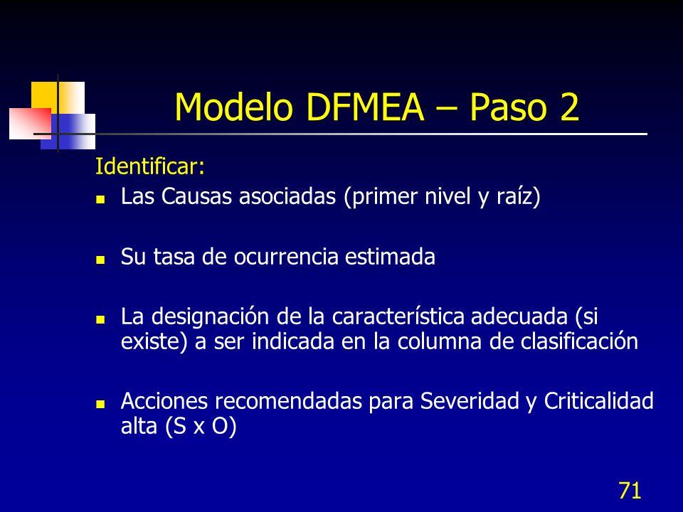 71 Modelo DFMEA – Paso 2 Identificar: Las Causas asociadas (primer nivel y raíz) Su tasa de ocurrencia estimada La designación de la característica ad