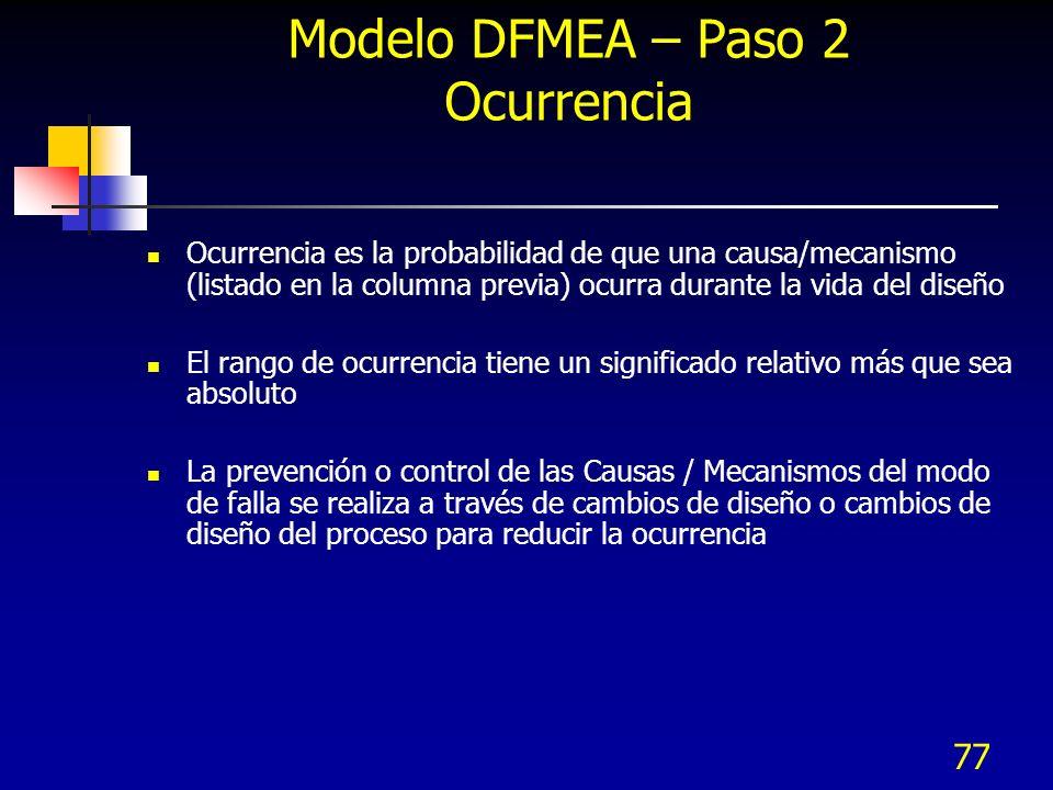 77 Modelo DFMEA – Paso 2 Ocurrencia Ocurrencia es la probabilidad de que una causa/mecanismo (listado en la columna previa) ocurra durante la vida del
