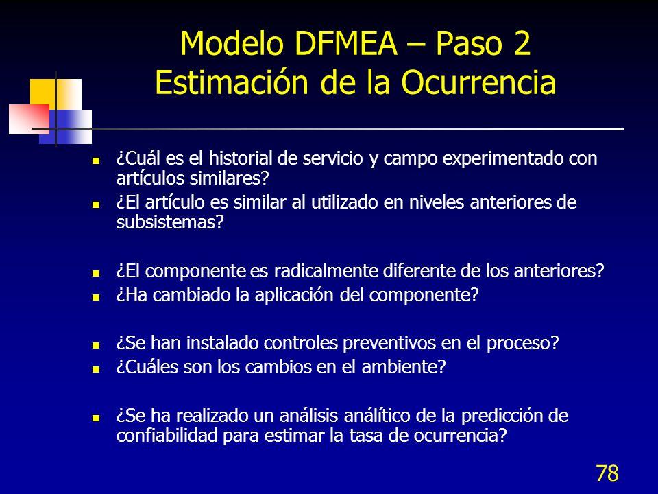 78 Modelo DFMEA – Paso 2 Estimación de la Ocurrencia ¿Cuál es el historial de servicio y campo experimentado con artículos similares? ¿El artículo es