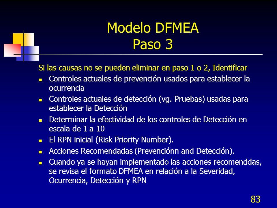 83 Modelo DFMEA Paso 3 Si las causas no se pueden eliminar en paso 1 o 2, Identificar Controles actuales de prevención usados para establecer la ocurr