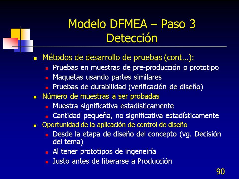 90 Modelo DFMEA – Paso 3 Detección Métodos de desarrollo de pruebas (cont…): Pruebas en muestras de pre-producción o prototipo Maquetas usando partes