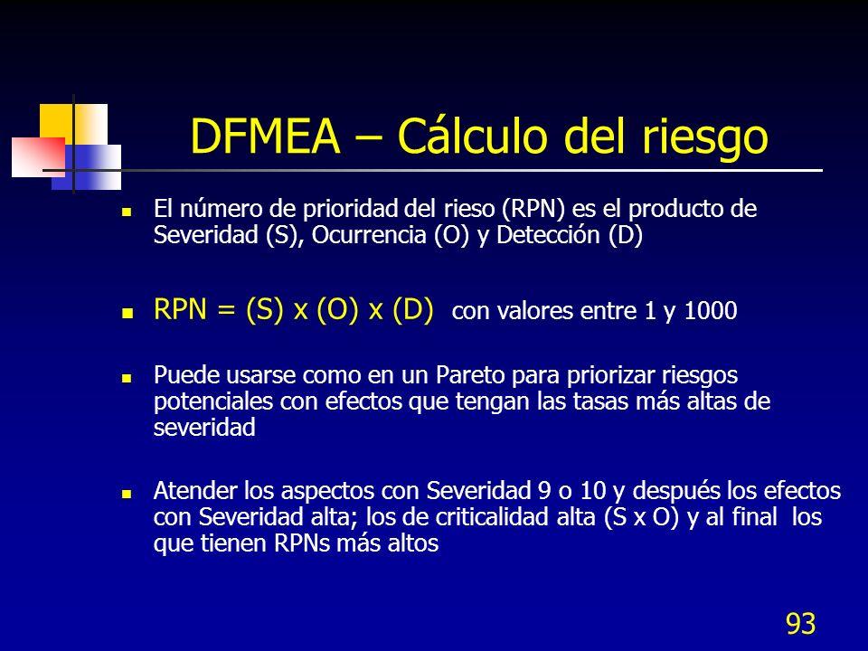 93 DFMEA – Cálculo del riesgo El número de prioridad del rieso (RPN) es el producto de Severidad (S), Ocurrencia (O) y Detección (D) RPN = (S) x (O) x