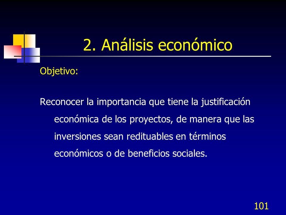 101 2. Análisis económico Objetivo: Reconocer la importancia que tiene la justificación económica de los proyectos, de manera que las inversiones sean