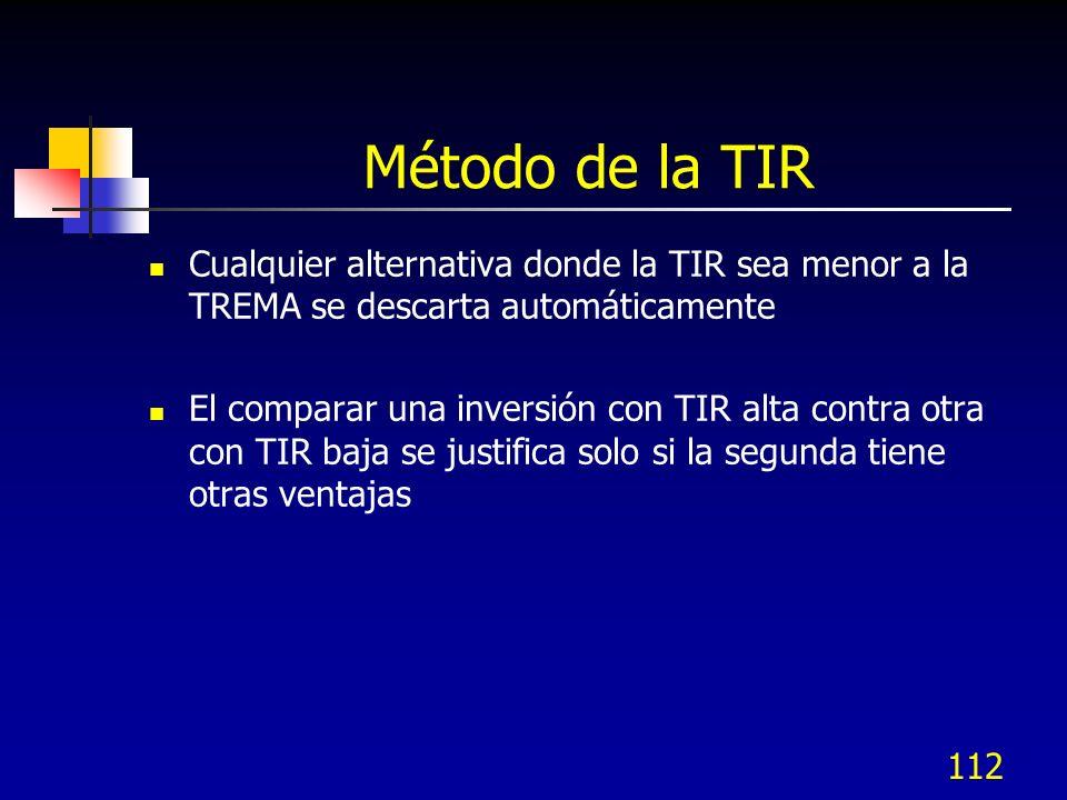 112 Método de la TIR Cualquier alternativa donde la TIR sea menor a la TREMA se descarta automáticamente El comparar una inversión con TIR alta contra