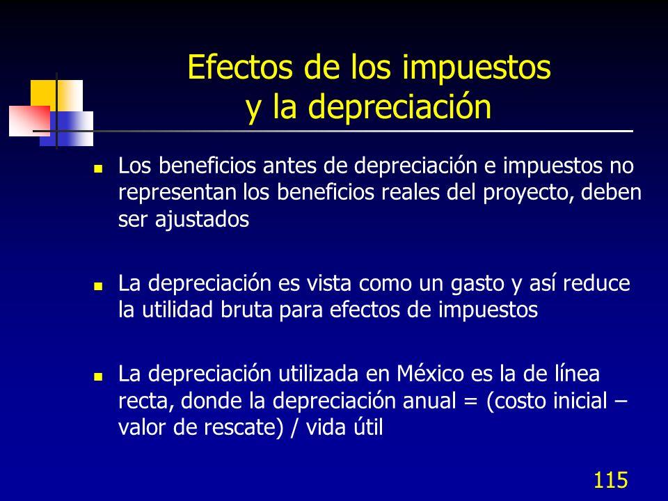 115 Efectos de los impuestos y la depreciación Los beneficios antes de depreciación e impuestos no representan los beneficios reales del proyecto, deb