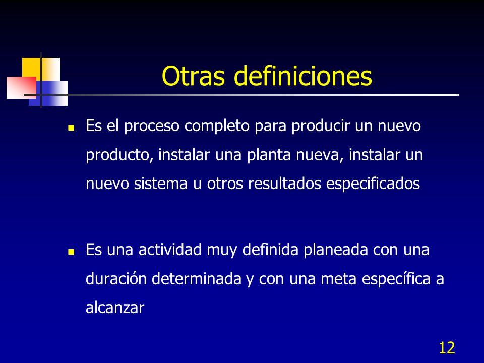 12 Otras definiciones Es el proceso completo para producir un nuevo producto, instalar una planta nueva, instalar un nuevo sistema u otros resultados