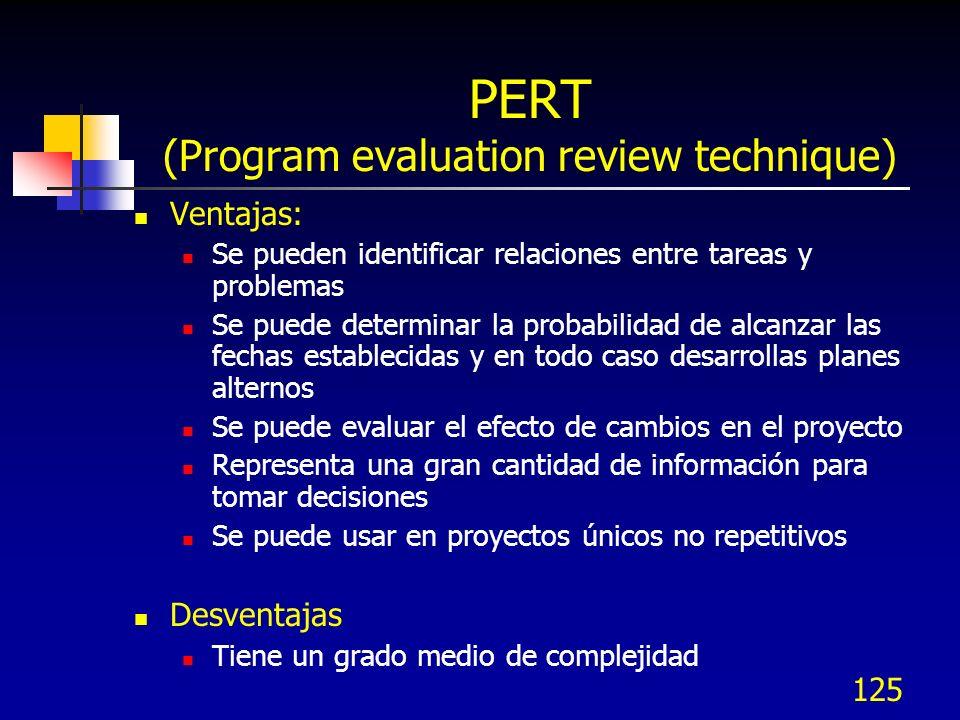 125 PERT (Program evaluation review technique) Ventajas: Se pueden identificar relaciones entre tareas y problemas Se puede determinar la probabilidad