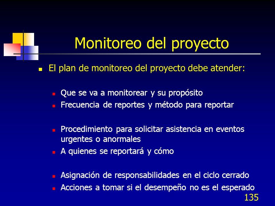 135 Monitoreo del proyecto El plan de monitoreo del proyecto debe atender: Que se va a monitorear y su propósito Frecuencia de reportes y método para
