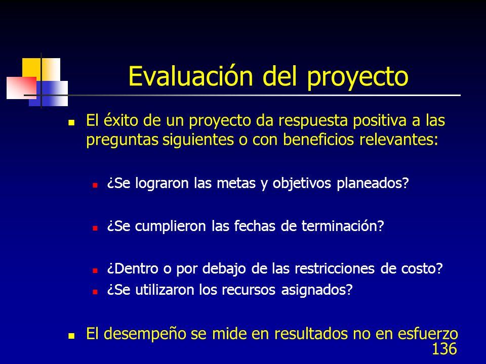 136 Evaluación del proyecto El éxito de un proyecto da respuesta positiva a las preguntas siguientes o con beneficios relevantes: ¿Se lograron las met
