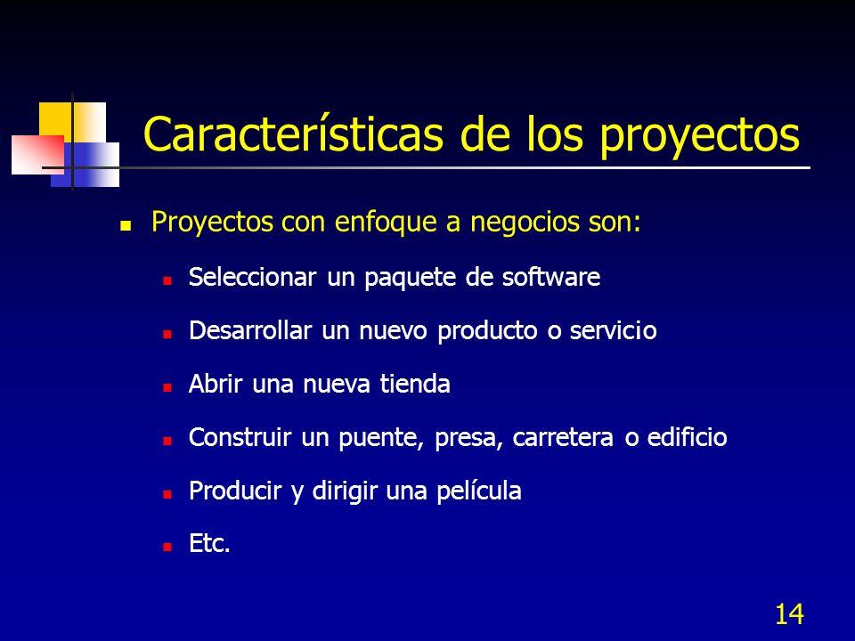 14 Características de los proyectos Proyectos con enfoque a negocios son: Seleccionar un paquete de software Desarrollar un nuevo producto o servic¡o